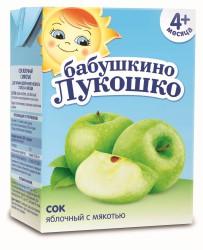 Сок, Бабушкино лукошко 200 мл яблоко с мякотью с 4 мес стекло